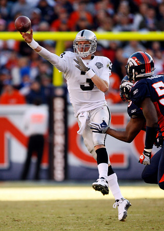 Oakland Raiders quarterback Charlie Frye looks to pass during the second quarter of an NFL football game against the Denver Broncos at Invesco Field at Mile High in Denver, Sunday, Dec. 20, 2009. (AP Photo/Jack Dempsey)