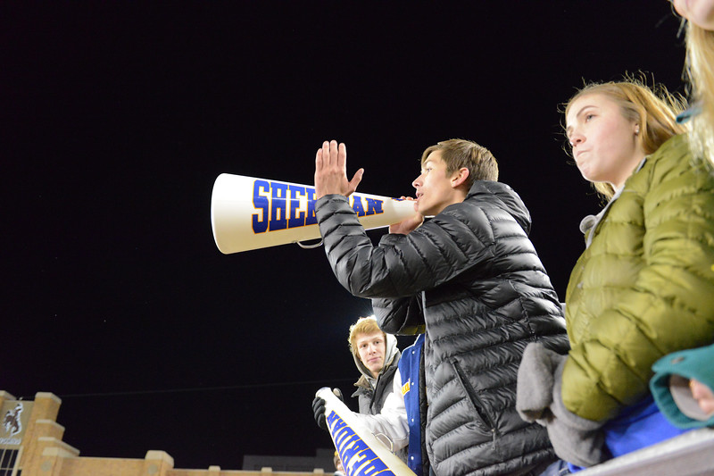 Justin Sheely | The Sheridan Press<br /> Sheridan students cheer in the second half of the class 4A state championship match against Natrona County High School Saturday, November 11, 2017, at War Memorial Stadium in Laramie. The Broncs claimed their third-straight state title after beating the Mustangs 28-14. The Sheridan Broncs were undefeated for their season.