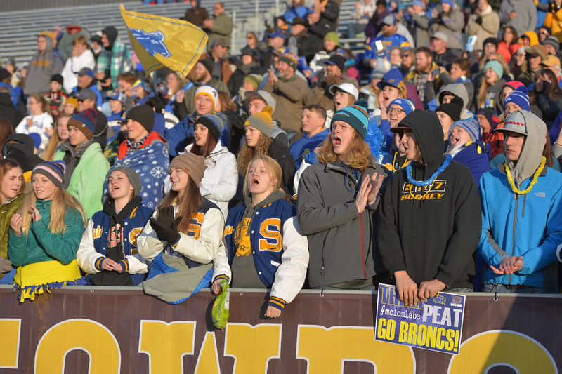 Justin Sheely | The Sheridan Press<br /> Sheridan fans cheer during the class 4A state championship match against Natrona County High School Saturday, November 11, 2017, at War Memorial Stadium in Laramie. The Broncs claimed their third-straight state title after beating the Mustangs 28-14. The Sheridan Broncs were undefeated for their season.