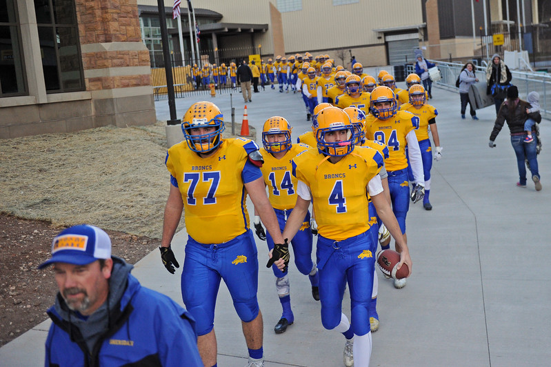 The Sheridan Broncs take the field before the start of the 4A state championship on Saturday, Nov. 11 at War Memorial Stadium. Mike Pruden | The Sheridan Press