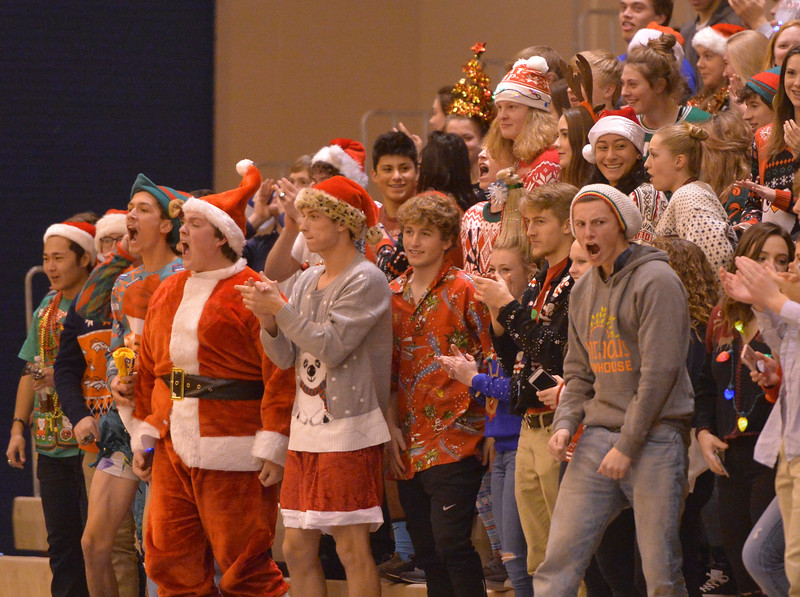 Justin Sheely | The Sheridan Press<br /> Sheridan students react as the Broncs score against Natrona High School at Sheridan High School Friday, Dec. 22, 2017. Broncs won 64-50.