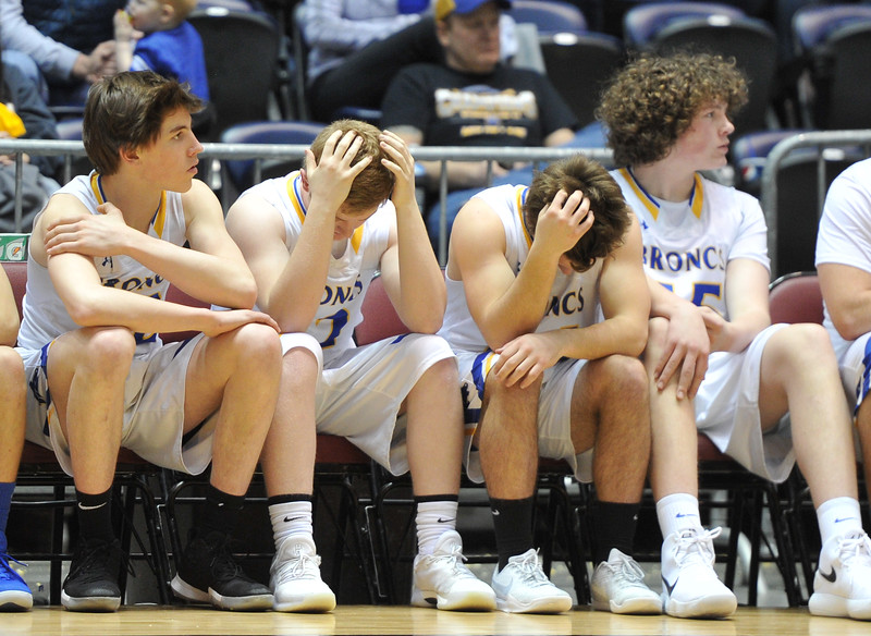 Justin Sheely | The Sheridan Press<br /> Frustration registers at the Broncs' bench during the boys class 4A State Championship at the Casper Event Center Saturday, March 10, 2018. The Broncs fell to the Camels 71-61.