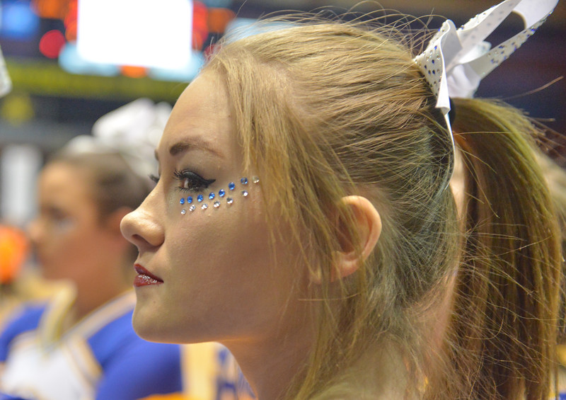 Justin Sheely | The Sheridan Press<br /> Sheridan High School cheerleader Bryana Kelli waits for the game to start during the boys class 4A State Championship at the Casper Event Center Saturday, March 10, 2018. The Broncs fell to the Camels 71-61.