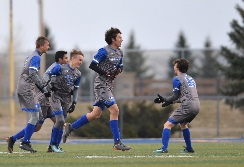 Justin Sheely | The Sheridan Press<br /> The Bolts celebrate a goal against Sheridan at Homer Scott Field Friday, April 13, 2018. The Broncs lost 2-1.