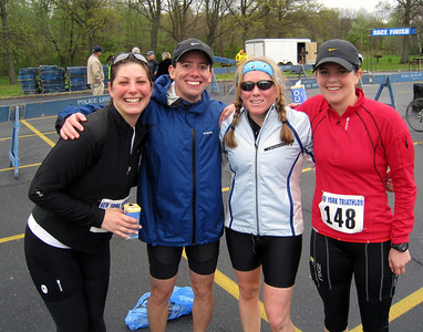 "Here's what you look like after you rock your first multi-sport event: Brooke ""speedy"" Dieneman, Dave ""3rd place or bust"" Kurs, Ali ""I don't smile for the camera"" Levy, and Aimee ""madame chauffeur"" Keller at the finish"