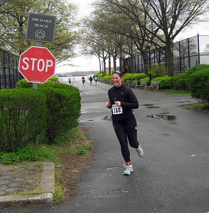 "Brooke violating NYC traffic laws by failing to stop at an intersection - ""out of my way!  I've got a duathlon to finish!"""