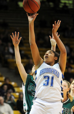 Broomfield'sTyana Medema goes to the basket past Conifer during the Final Four game at the Coors Event Center in Boulder on Wednesday <br /> <br /> March 10, 2010<br /> Staff photo/David R. Jennings