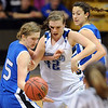 Renae Waters of Broomfield is pressured by Tambre Haddock, left, and Jordan Aarguello of Longmont.<br /> Cliff Grassmick / March 12, 2010