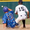 "Broomfield Eagle's Angelo Perez, #13, slides safe into second base before Air Acadmey's Curtis Butler, #15,can tag him out during the championship game on Saturday, May, 26, 2012, Denver. <br /> Photo by Derek Broussard<br /> For more photos visit  <a href=""http://www.dailycamera.com"">http://www.dailycamera.com</a>"