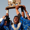 "The Broomfield Eagle's Ben Martinez, #5. holds up a trophy after winning the state championship on Saturday, May, 26, 2012, Denver.<br /> Photo by Derek Broussard<br /> For more photos visit  <a href=""http://www.dailycamera.com"">http://www.dailycamera.com</a>"