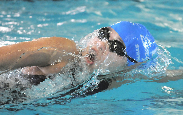 Alaina Gossett swimming in the 200 yard freestyle during the 4A state championship swim meet at Mountain View High School in Loveland on Saturday.<br /> February 12, 2011<br /> staff photo/David R. Jennings