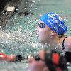 Broomfield's Heather Shaver looks at her finish time in the 100 yard freestyle during the 4A state championship swimmeet at Mountain View High School in Loveland on Saturday.<br /> February 12, 2011<br /> staff photo/David R. Jennings