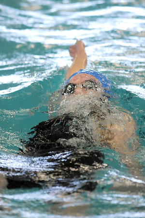 Broomfield's Katalena Laufasa-Duncan competing in the 100 yard backstroke during the 4A state championship swim meet at Mountain View High School in Loveland on Saturday. <br /> February 12, 2011<br /> staff photo/David R. Jennings