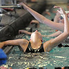 Broomfield's Abi Young reacts to her finish in the 200 yard freestyle during the 4A state championship swimmeet at Mountain View High School in Loveland on Saturday <br /> February 12, 2011<br /> staff photo/David R. Jennings