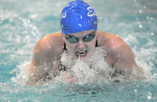 Broomfield's Heather Shaver competing in the 100 yard breast stroke during the 4A state championship swim meet at Mountain View High School in Loveland on Saturday. <br /> February 12, 2011<br /> staff photo/David R. Jennings