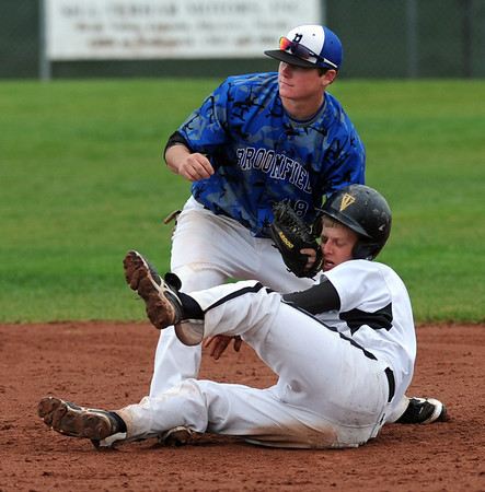"Hayden Underberg of Broomfield gets the tag on  Jeremy White of Thompson Valley for the out at second.<br /> For a photo gallery of Broomfield baseball, go to  <a href=""http://www.dailycamera.com"">http://www.dailycamera.com</a>.<br /> Cliff Grassmick/ May 14, 2011"