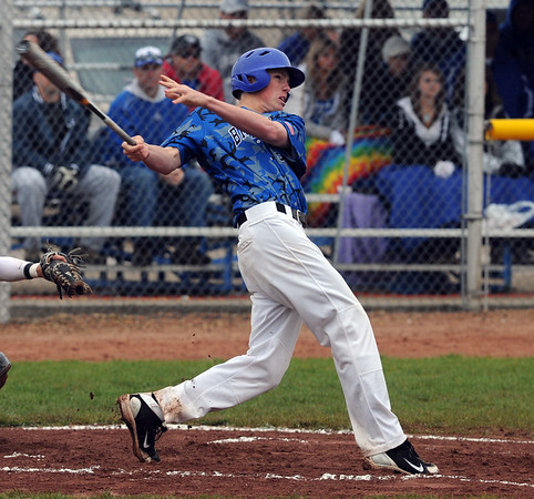 """Jackson Lockwood watches the ball fly over the fence for a homerun against Thompson Valley.<br /> For a photo gallery of Broomfield baseball, go to  <a href=""""http://www.dailycamera.com"""">http://www.dailycamera.com</a>.<br /> Cliff Grassmick/ May 14, 2011"""