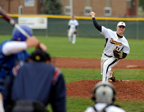 "Caleb Carlson of Thompson Valley pitches against Broomfield on Saturday.<br /> For a photo gallery of Broomfield baseball, go to  <a href=""http://www.dailycamera.com"">http://www.dailycamera.com</a>.<br /> Cliff Grassmick/ May 14, 2011"