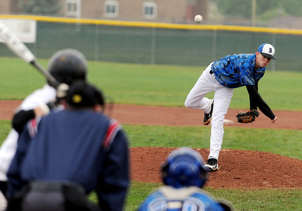 "Kyle Tinius of Broomfield throw against Thompson Valley in the second game on Saturday.<br /> For a photo gallery of Broomfield baseball, go to  <a href=""http://www.dailycamera.com"">http://www.dailycamera.com</a>.<br /> Cliff Grassmick/ May 14, 2011"