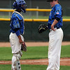 "Ben Martinez, left, and pitcher Hayden Underberg, of Broomfield, have a conference in the Widefield game.<br /> For a photo gallery of Broomfield baseball, go to  <a href=""http://www.dailycamera.com"">http://www.dailycamera.com</a>.<br /> Cliff Grassmick/ May 14, 2011"