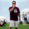 """Coach Dave Cortez blows the whistle to start a drill during the Broomfield Youth Football Association combine on Thursday, Aug. 2, at the Broomfield Commons Park red field in Broomfield. For more photos of the football camp go to  <a href=""""http://www.dailycamera.com"""">http://www.dailycamera.com</a><br /> Jeremy Papasso/ Camera"""