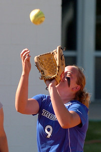 McKenzie Murray of Longmont catches a pop up against Broomfield. Longmont played its first game on the new softball field. For more photos of the game, go to www.dailycamera.com. Cliff Grassmick / August 26, 2010