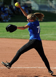 Madeline Peterson of Longmont pitches against Broomfield on Thursday. Longmont played its first game on the new softball field. For more photos of the game, go to www.dailycamera.com. Cliff Grassmick / August 26, 2010