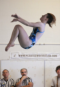 Broomfield's LeAnna Talarico makes a dive during Saturday's state 4A swim championships at Mtn. View Aquatic Center.  February 13, 2010 Staff photo/David R. Jennings