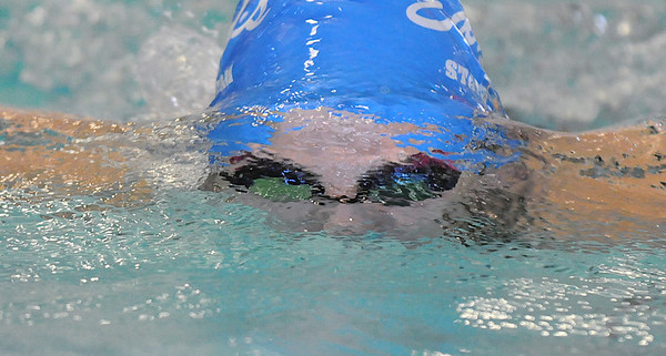Abi Young, Broomfield, swimming in the 200 yard IM during Saturday's state 4A swim championships at Mtn. View Aquatic Center.