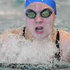 Katalena Laufasa-Duncan, Broomfield, swims the breast stroke leg in the 200 yard IM during Saturday's state 4A swim championships at Mtn. View Aquatic Center.<br /> <br /> February 13, 2010<br /> Staff photo/David R. Jennings