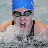 Abi Young, Broomfield, swimming in the 200 yard IM during Saturday's state 4A swim championships at Mtn. View Aquatic Center.<br /> <br /> February 13, 2010<br /> Staff photo/David R. Jennings