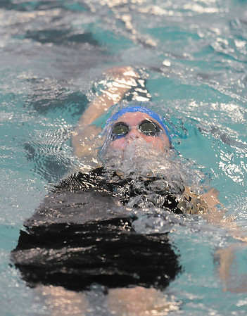 Katalena Laufasa-Duncan, Broomfield, swims the 100 yard backstroke during Saturday's state 4A swim championships at Mtn. View Aquatic Center.<br /> <br /> February 13, 2010<br /> Staff photo/David R. Jennings
