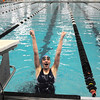 Lexie Roach, Broomfield, celebrates after finishing 9th in the 100 yard backstroke during Saturday's state 4A swim championships at Mtn. View Aquatic Center.<br /> <br /> February 13, 2010<br /> Staff photo/David R. Jennings