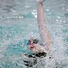 Katalena Laufasa-Duncan, Broomfield, swims the 100 yard backstroke during Saturday's state 4A swim championships at Mtn. View Aquatic Center.<br /> <br /> February 13, 2010<br /> Staff photo/David R. Jennings