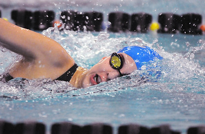 Abi Young, Broomfield, swims in the 500 yard freestyle during Saturday's state 4A swim championships at Mtn. View Aquatic Center.  February 13, 2010 Staff photo/David R. Jennings