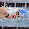 Abi Young, Broomfield, swims in the 500 yard freestyle during Saturday's state 4A swim championships at Mtn. View Aquatic Center.<br /> <br /> February 13, 2010<br /> Staff photo/David R. Jennings