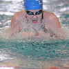 Heather Shaver, Broomfield, swims the breaststroke in the 200 yard medley relay during Saturday's state 4A swim championships at Mtn. View Aquatic Center.<br /> <br /> February 13, 2010<br /> Staff photo/David R. Jennings