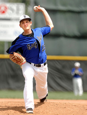 """Broomfield High School's Albert Garcia throws some heat during a semifinal game against Canon City High School on Friday, May 25, at All-Star Park in Lakewood. Broomfield won the game 5-4. For more photos of the game go to  <a href=""""http://www.dailycamera.com"""">http://www.dailycamera.com</a><br /> Jeremy Papasso/ Boulder Daily Camera"""