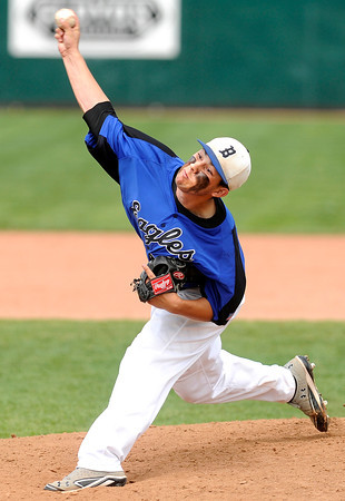 "Broomfield High School relief pitcher Brandon Bailey throws a strike  during a semifinal game against Canon City High School on Friday, May 25, at All-Star Park in Lakewood. Broomfield won the game 5-4. For more photos of the game go to  <a href=""http://www.dailycamera.com"">http://www.dailycamera.com</a><br /> Jeremy Papasso/ Boulder Daily Camera"