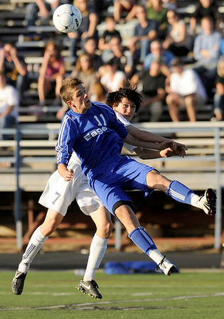 "Broomfield junior Trevor Sackmann and Evergreen senior Marcus Donaldson fight for the ball during the Class 4A State soccer semifinals against Evergreen High School on Saturday, Nov. 6, at Englewood High School. Broomfield defeated Evergreen.<br /> For more photos go to  <a href=""http://www.dailycamera.com"">http://www.dailycamera.com</a><br /> Photo by JEREMY PAPASSO"