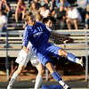 """Broomfield junior Trevor Sackmann and Evergreen senior Marcus Donaldson fight for the ball during the Class 4A State soccer semifinals against Evergreen High School on Saturday, Nov. 6, at Englewood High School. Broomfield defeated Evergreen.<br /> For more photos go to  <a href=""""http://www.dailycamera.com"""">http://www.dailycamera.com</a><br /> Photo by JEREMY PAPASSO"""