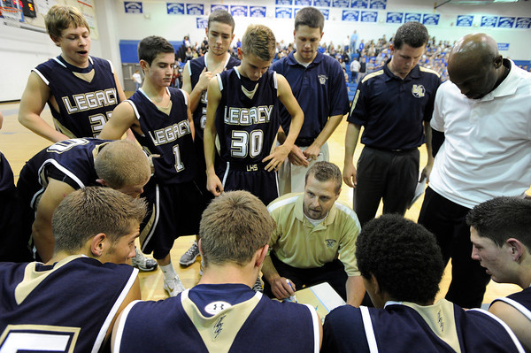 Legacy High School Head Coach Gunnar Johnson talks to his team during a time out  on Tuesday, Nov. 4, during a game against Broomfield High School at Broomfield. Broomfield won the game.<br /> Jeremy Papasso/ Camera