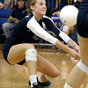 Legacy's MaKenna Rockeman saves the ball during a volleyball match against Broomfield High School on Thursday, Aug. 30, at Broomfield High School. Broomfield won the match.<br /> Jeremy Papasso/ Camera