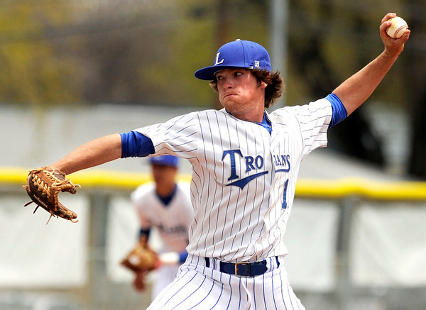 """Longmont High School pitcher Hunter Pickett throws some heat on Saturday, April 30, during a baseball game against Broomfield High School in Longmont. Broomfield won the game 9-6. For more photos go to  <a href=""""http://www.dailycamera.com"""">http://www.dailycamera.com</a><br /> Jeremy Papasso/ Camera"""