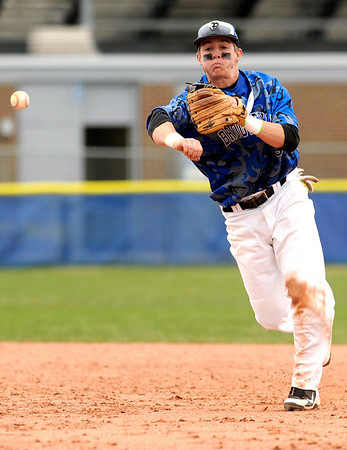 """Broomfield High School's Andy McClaskey makes a play at first base on Saturday, April 30, during a baseball game against Longmont High School in Longmont. Broomfield won the game 9-6. For more photos go to  <a href=""""http://www.dailycamera.com"""">http://www.dailycamera.com</a><br /> Jeremy Papasso/ Camera"""