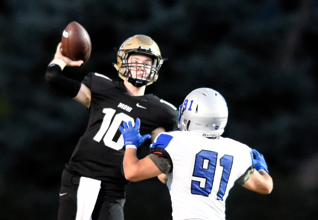 . LAFAYETTE, CO - SEPTEMBER 21, 2018: Monarch High School\'s Kyle Gordon throws a pass during a game against Broomfield on Friday at Centaurus High School in Lafayette. More photos: BoCoPreps.com (Photo by Jeremy Papasso/Staff Photographer)