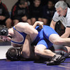 """Broomfield High School's D.J. Zissimos tries to pin Pomona High School's Roman Yslas in the 182-pound class during a wrestling match at Broomfield High School on Wednesday, Jan. 25. Zissimos won the match. For more photos of the matches go to  <a href=""""http://www.dailycamera.com"""">http://www.dailycamera.com</a><br />  Jeremy Papasso/ Camera"""