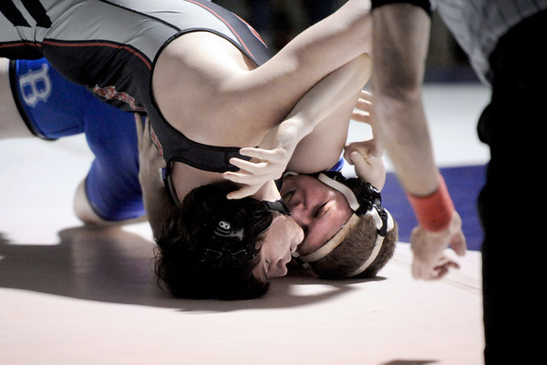 "Broomfield High School's Austyn Harris, right,  works to get back points while wrestling Pomona High School's Emmett Spence in the 195-pound class during a wrestling match at Broomfield High School on Wednesday, Jan. 25. Harris won the match. For more photos of the matches go to  <a href=""http://www.dailycamera.com"">http://www.dailycamera.com</a><br />  Jeremy Papasso/ Camera"