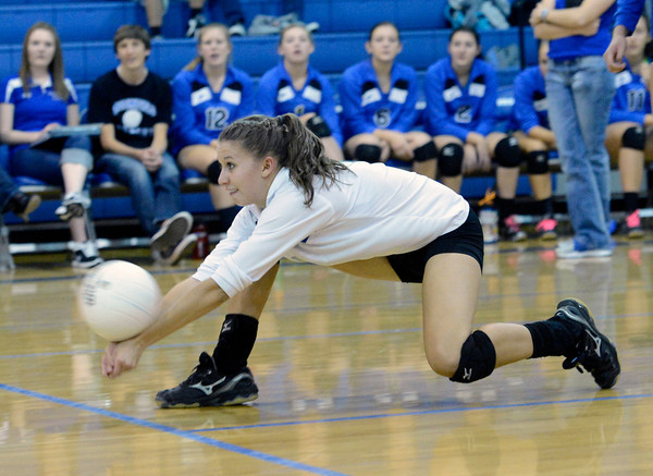 "Broomfield High School's Rachel Dye saves a ball during a volleyball match against Thompson Valley High School on Tuesday, Oct. 23, in Broomfield. For more photos of the game go to  <a href=""http://www.dailycamera.com"">http://www.dailycamera.com</a><br /> Jeremy Papasso/ Camera"