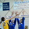 "Broomfield High School's Lindsey Ross, middle, and Marianna Boyer try to block a kill from Emily Newton during a volleyball match against Thompson Valley High School on Tuesday, Oct. 23, in Broomfield. For more photos of the game go to  <a href=""http://www.dailycamera.com"">http://www.dailycamera.com</a><br /> Jeremy Papasso/ Camera"